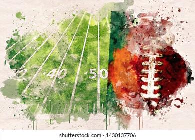 American football game symbols watercolor abstract.
