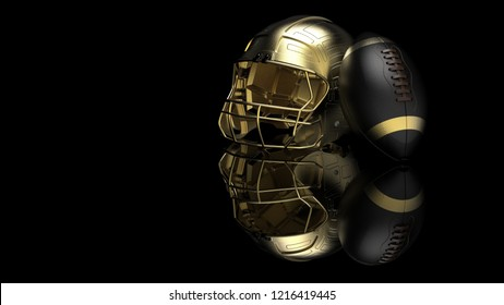 American football Gold helmet and Black Ball. 3D illustration. 3D high quality rendering.