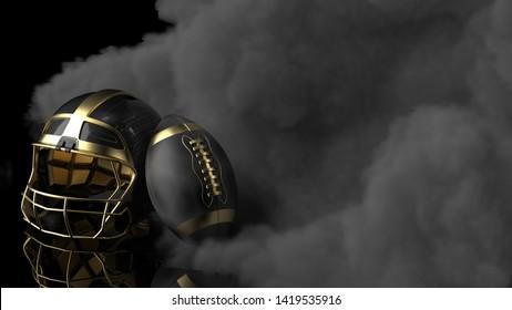 American football Gold-Black helmet and Gold-Black Ball with dark black toned foggy smoke under black-white laser lighting. 3D illustration. 3D high quality rendering.