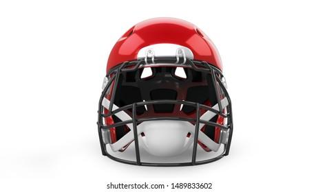 American Football Helmet 3D Rendering Isolated on White