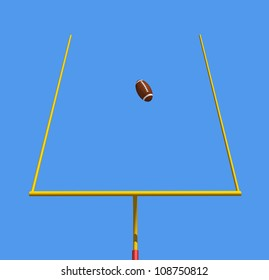 American football kicked through the goal posts against blue sky -rendering