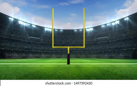 football stadium daylight images stock photos vectors shutterstock https www shutterstock com image illustration american football league stadium yellow goalpost 1497392420