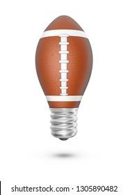 American football light bulb / 3D illustration of light bulb shaped American football isolated on white background