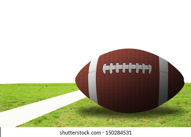 American Football on a green floor and white background