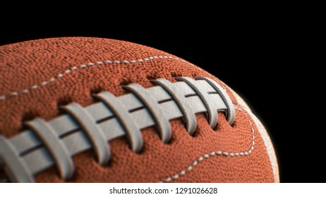American football Pigskin close up shallow depth of field with black background 3d illustration