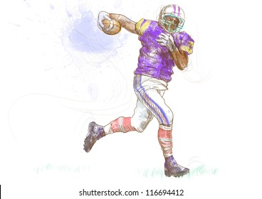 """American football player, running man. Full-sized (original) hand drawing (useful for """"live trace"""" converting for the vector image - and others). Technique: digital tablet."""