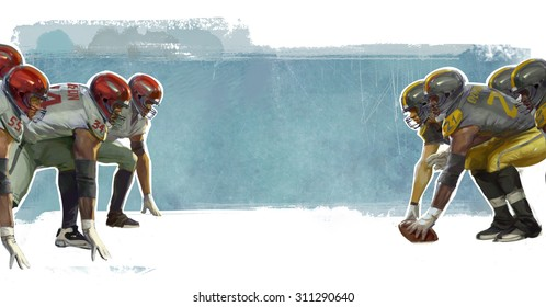 American football players on dramatic background is good for any sports events, outfit or service design