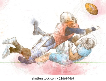 """American football players, two guys in mutual scuffle. Full-sized (original) hand drawing (useful for """"live trace"""" converting for the vector image - and others). Technique: digital tablet."""