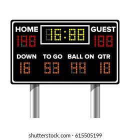American Football Scoreboard. Sport Game Score. Digital LED Dots.