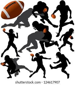 American football silhouettes. Raster version.