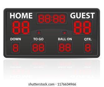 american football sports digital scoreboard illustration isolated on white background
