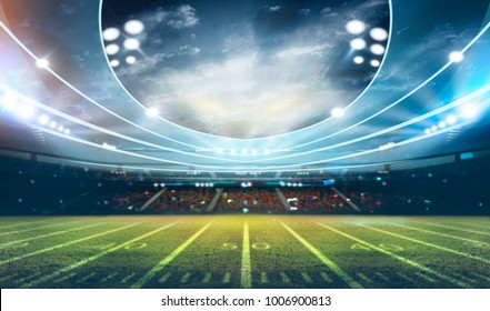 american football stadium 3D rendering.