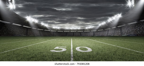 The American football stadium, 3d rendering