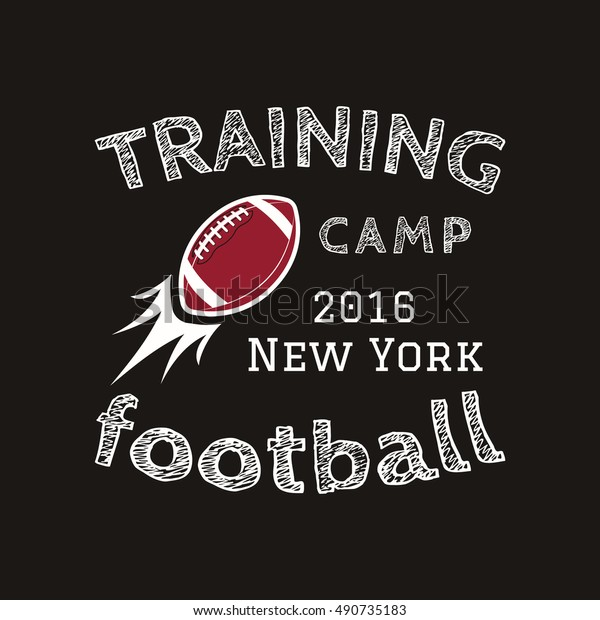 American football training camp logotype, emblem, label, badge in retro color style. Graphic vintage logo design for t-shirt, web. Colorful print isolated on a dark background. illustration