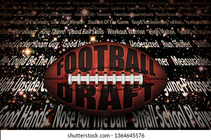 """American football with the words """"Football Draft"""" embossed onto a football on top of written player traits on a starry background. 3D Illustration"""