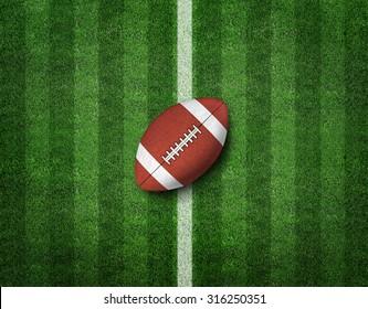 American Football with Yard Line on American Football Field.