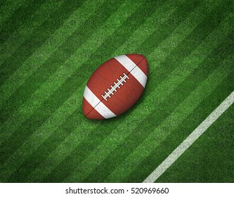 American Football with Yard Line on American Football Field. 3d rendering