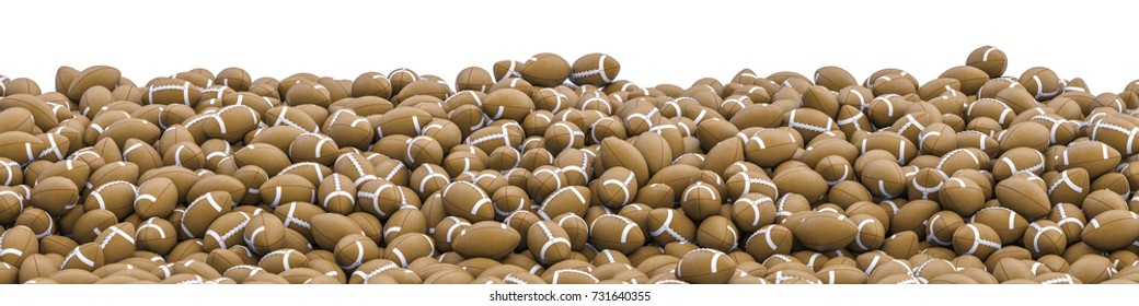 American footballs panorama / 3D illustration of panoramic view of hundreds of American footballs