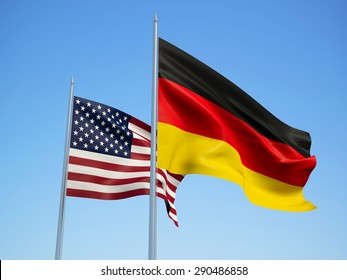 American and German flags waving in the wind. 3d illustration.