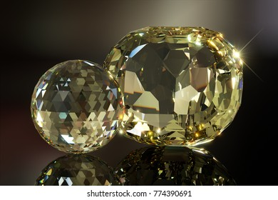 American Golden Topaz and Golden Topaz Sphere on dark brown mirror background. The biggest faceted topaz in the world. 3D rendering illustration