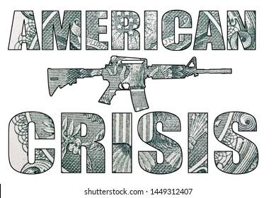 American Gun Crisis on White Background