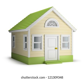 American house. 3d image. Isolated white background.