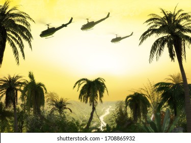 American Huey military helicopter formation flying over the jungle at sunset during the Vietnam War. 3d render.