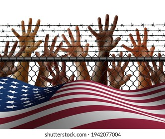 American immigration and United States refugee crisis concept as immigrant people on a border wall with a US flag as a social issue about refugees or illegal immigrants with 3D illustration elements.
