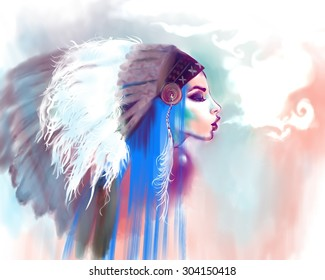 American Indian girl smoking a pipe, on a water color background. Indian woman with traditional make up and headdress looking to the side. Boho style fashion girl with blue hair. Smoke for message.