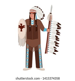 American Indian man wearing war bonnet and traditional clothes and holding spear and shield. Native peoples of America. Male cartoon character isolated on white background. illustration.