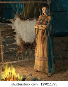 an american indian woman stands in front of a campfire