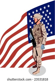 American military serviceman with flag