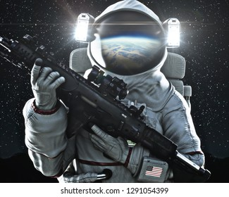 American military space force soldier holding a weapon with Earth's reflection in the helmet. 3d rendering