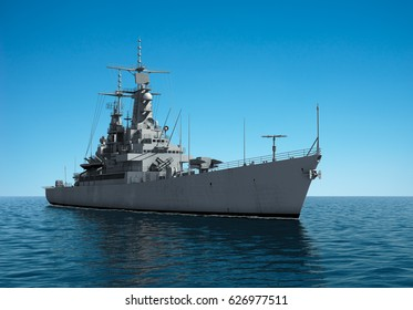 American Modern Warship In The High Seas. 3D Illustration.