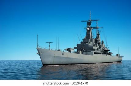 American Modern Warship In The Ocean. 3D Illustration.