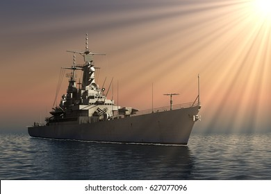 American Modern Warship In Rays Of The Sun. 3D Illustration.