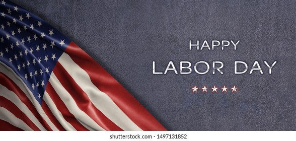 American National Holiday. US Flag background with American stars, stripes and national colors. Text: Happy Labor Day