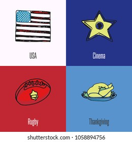American National Symbols. USA flag, cinema star, rugby ball, thanksgiving turkey colored hand drawn doodles icons with caption on colored backgrounds. Country concept for travel company ad