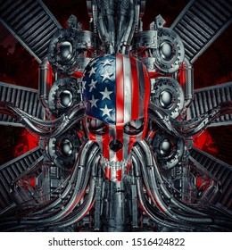 The American nightmare / 3D illustration of scary rock 'n roll USA flag skull with chrome motorcycle engine machinery
