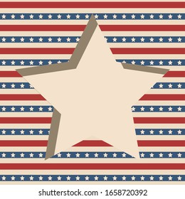 American patriotic paper cut frame with stars and stripes pattern in vintage colors. Independence day background.