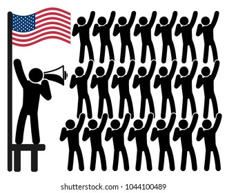 American Patriotism. Concept sign of political leader and his followers