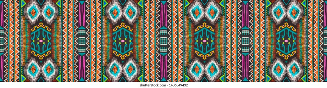 American pattern. Ikat seamless print. Boho mayan ornament. Vintage patchwork. Fashion cherokee design. Graphic modern print. Black, cyan, pink, green, gold american pattern.