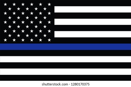 American police flag. Thin blue line flag law enforcement symbol. American Flag with Thin Blue Line. Grunge Aged Background. Monochrome gamut. Black and white. police tribute