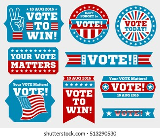 American presidential election 2016 badges and vote labels. Badges and signs for presidential election. Symbols of USA president election. illustration