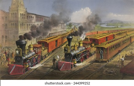 American railroad scene shows Lightning Express trains leaving the junction in 1874.
