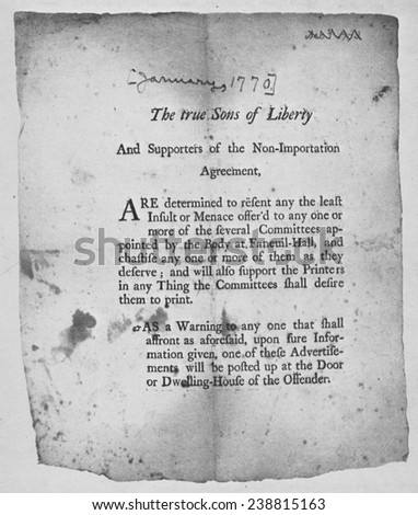 American Revolution Broadside Encouraging Action By Stock