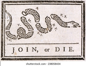 The American Revolution, Join or die, Benjamin Franklin's warning to the British colonies in America, from The Pennsylvania Gazette, by Benjamin Franklin, ca 1754.