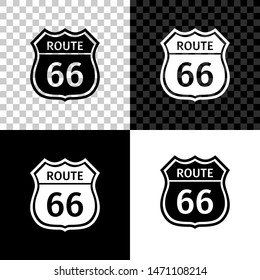 American road icon isolated on black, white and transparent background. Route sixty six road sign