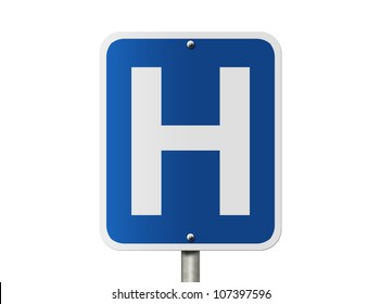 An American road sign isolated on white and a capital H, Hospital Sign