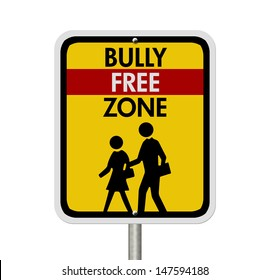An American road warning sign isolated on white with children walking symbol and words Bully Free Zone, Caution This is a Bully Free Zone